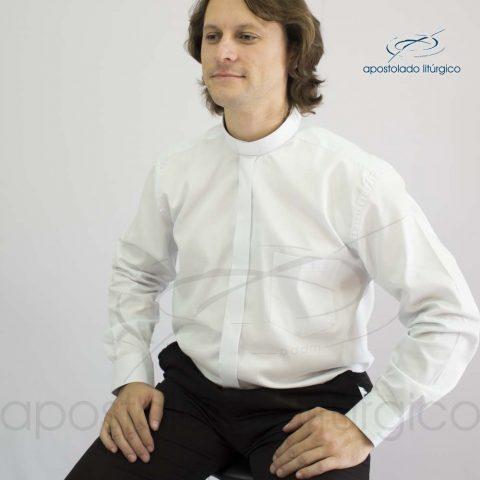 Camisa Marca D'agua Branca Manga Longa Frente Perfil Sentado