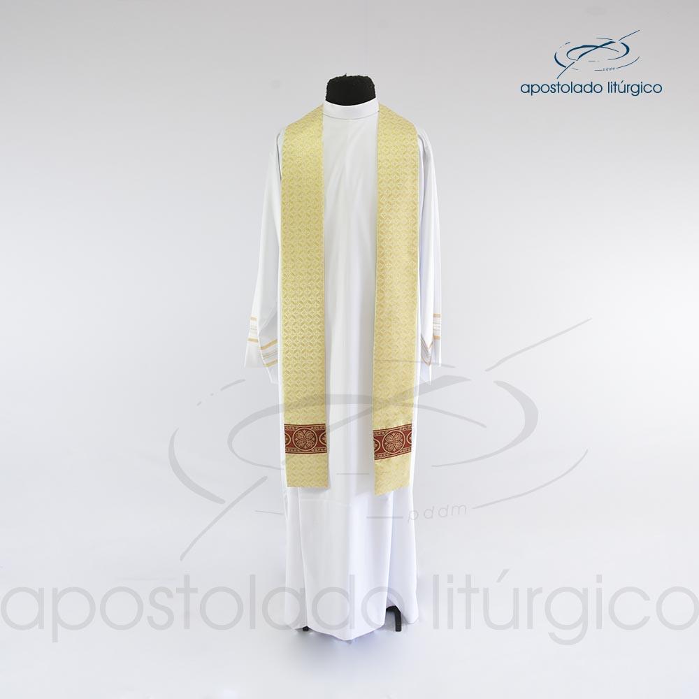 Capa de Benção com franja brocado damasco galão 10 estola cod 25313 | Apostolado Litúrgico Brasil