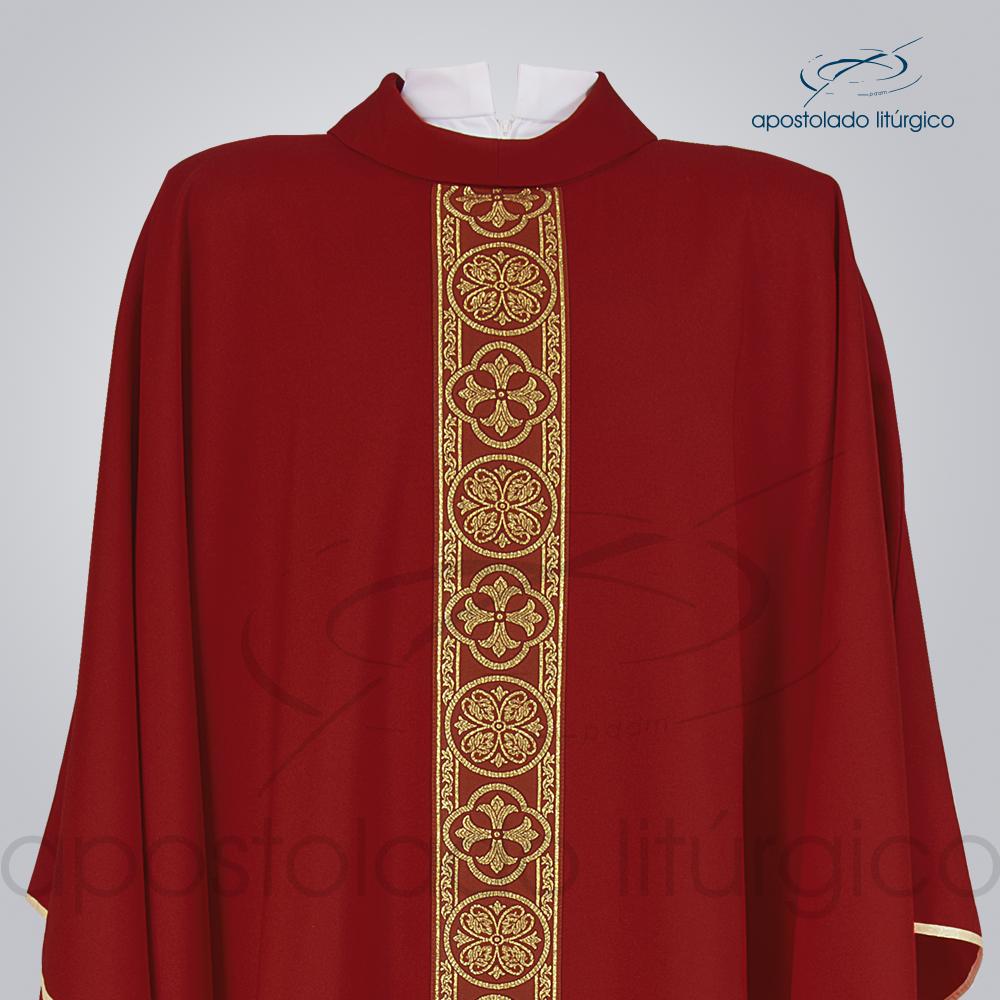 Casula Oxford Galão Largo 10 Vermelha Frente Busto COD 3360 | Apostolado Litúrgico Brasil