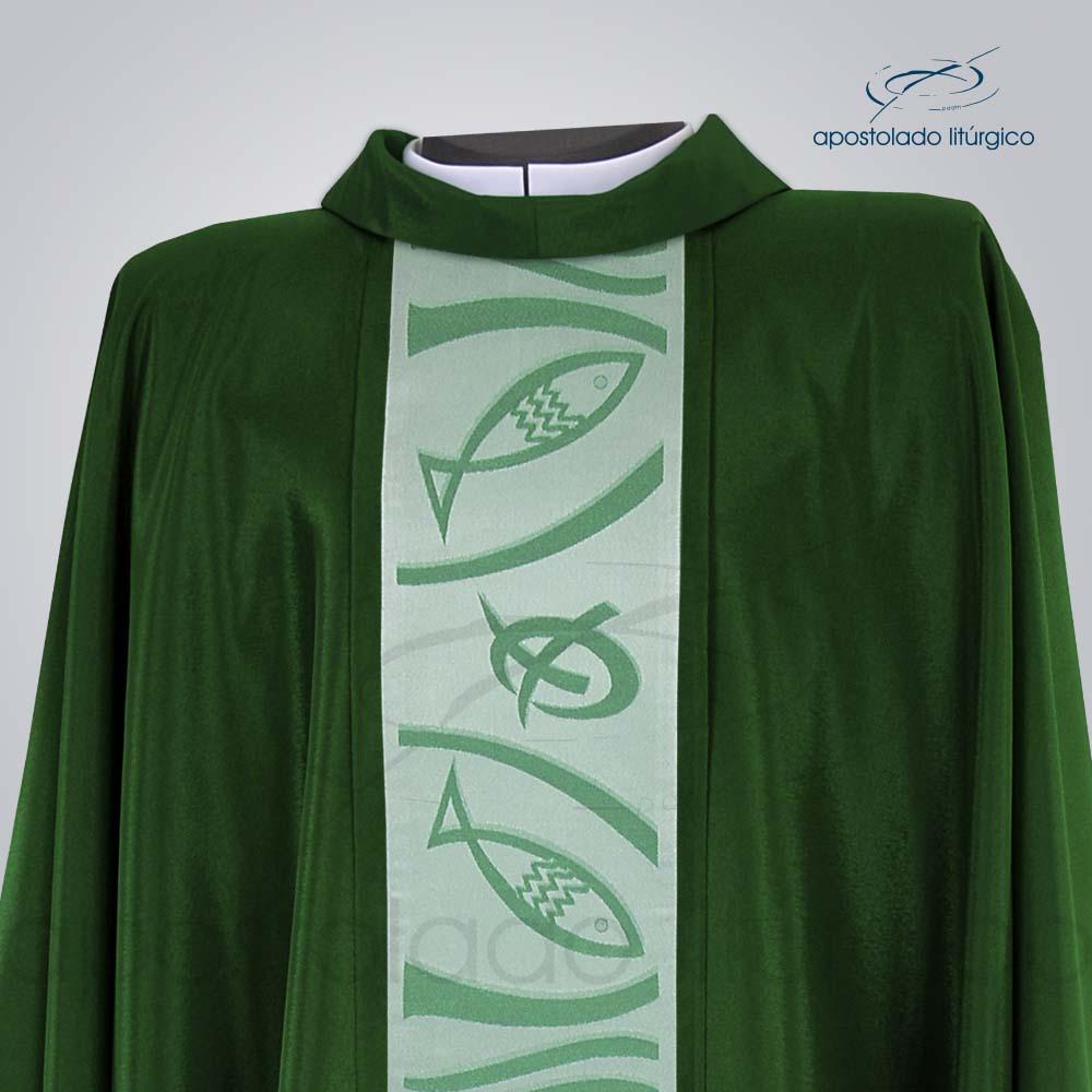 Casula Crepe Seda Galão Peixe Pão 2 Verde