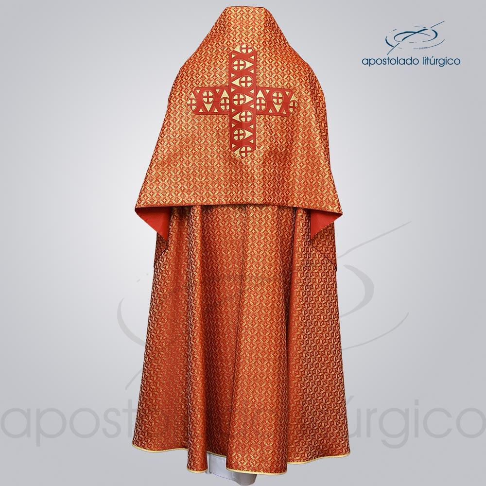 Conjunto Capa de Benção Brocado Damasco Galão Largo Nº 15 Vermelho Cotas COD 1274 | Apostolado Litúrgico Brasil