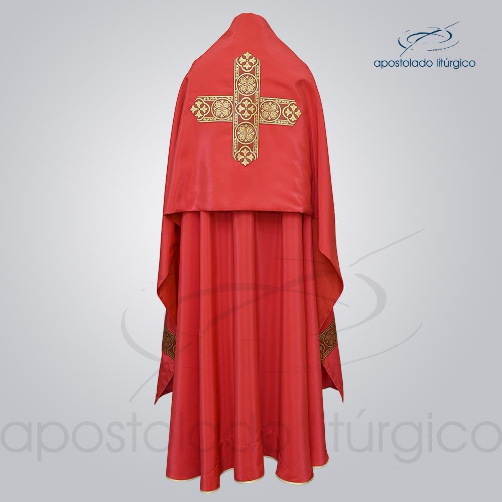 Conjunto Capa de Benção Crepe Seda Galão Largo Nº 10 Vermelha Costas cod 1920 | Apostolado Litúrgico Brasil
