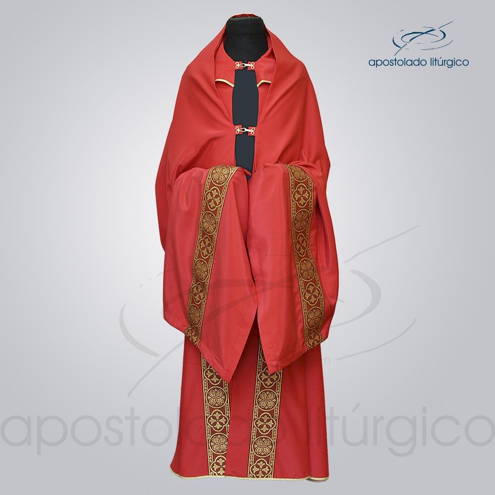 Conjunto Capa de Benção Crepe Seda Galão Largo Nº 10 Vermelha Frente cod 1920 | Apostolado Litúrgico Brasil