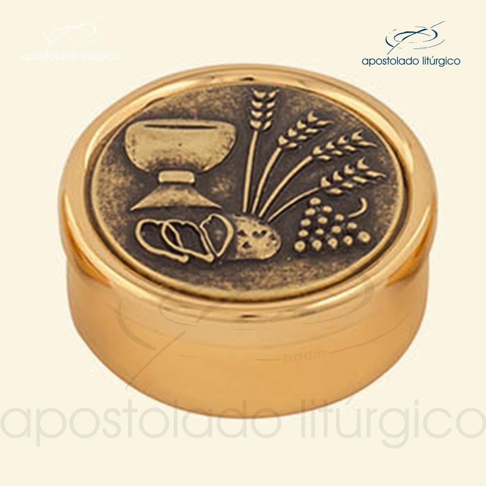 Teca dourado com tampa envelhecida cod 17EPDT apostoladoliturgico | Apostolado Litúrgico Brasil