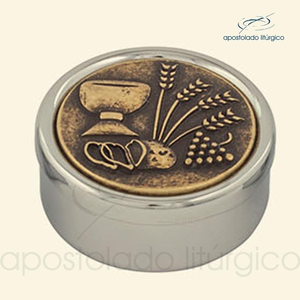 Tecas cromadas dourado interno com tampa envelhecida cod COD 17EPDI apostoladoliturgico | Apostolado Litúrgico Brasil