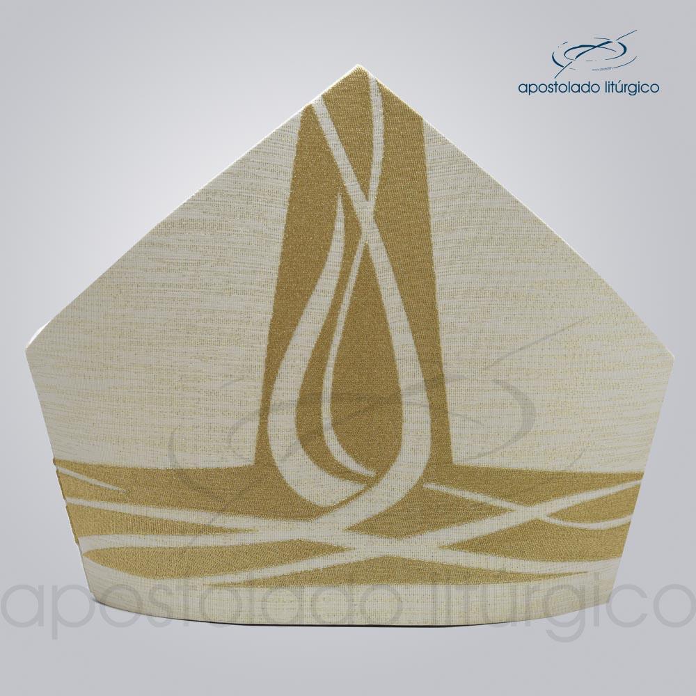 Mitra ravena bordado Espirito Santo metalizado código 25335 | Apostolado Litúrgico Brasil