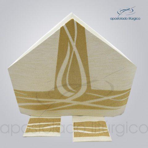 Mitra ravena bordado Espirito Santo metalizado com as infolas código 25335