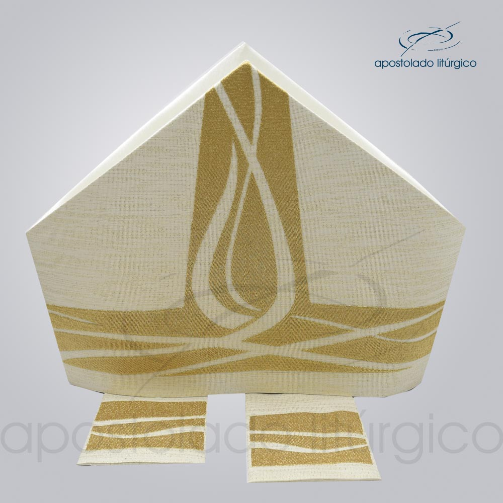 Mitra ravena bordado Espirito Santo metalizado com as infolas código 25335 | Apostolado Litúrgico Brasil
