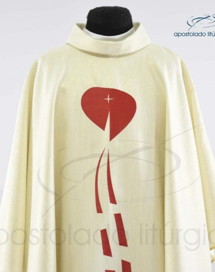 Casula Ravena Bordado Sagrado Coração Pérola Frente Busto