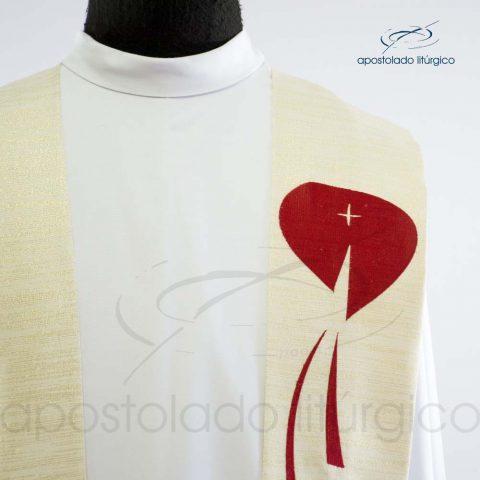 Estola Presbiteral Ravena Bordado Sagrado Coração Pérola Frente Coração