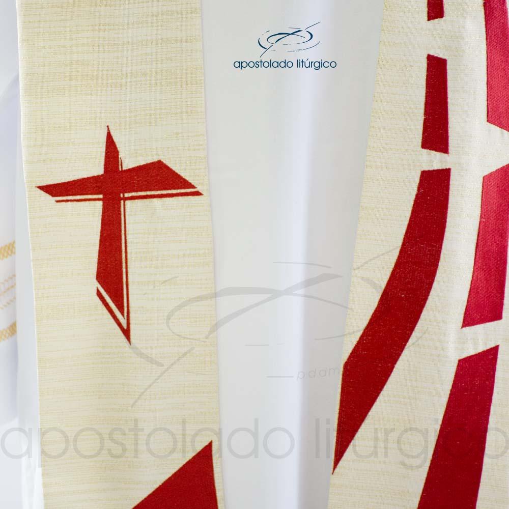 Estola Presbiteral Ravena Bordado Sagrado Coração Pérola Frente Cruz