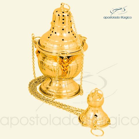 Turibulo Trabalhado Grande Dourado Ref 3954