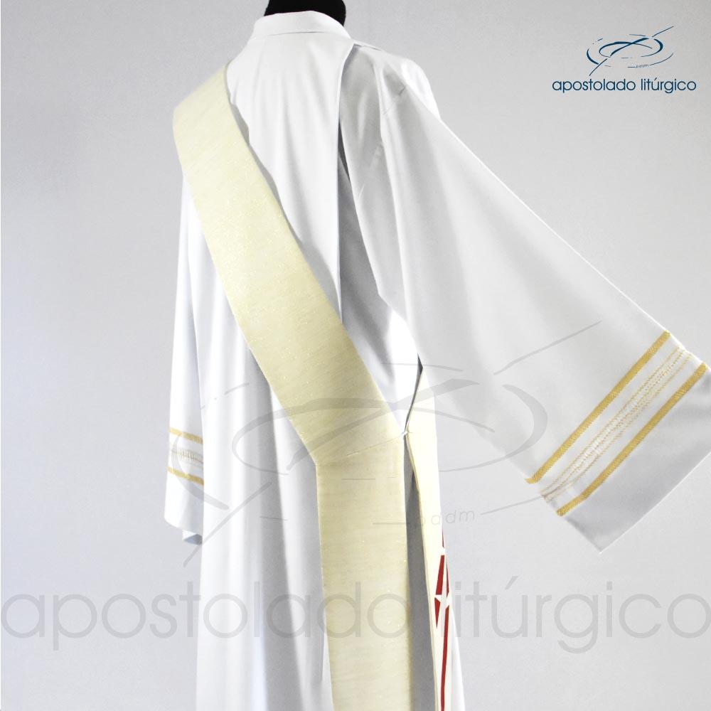 Estola Diaconal Ravena Pérola Bordado Sagrado Coração detalhe2 codigo 25381 | Apostolado Litúrgico Brasil