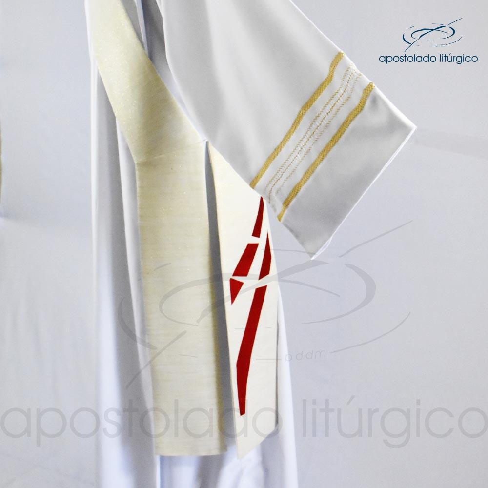 Estola Diaconal Ravena Pérola Bordado Sagrado Coração detalhe3 codigo 25381 | Apostolado Litúrgico Brasil