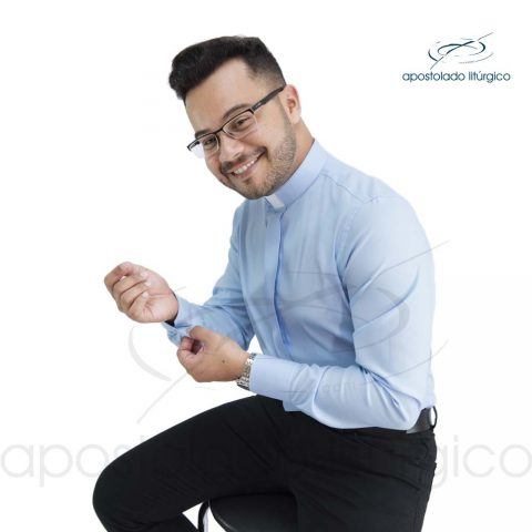 Camisa Slim Fit Clerical Azul Claro Manga Longa