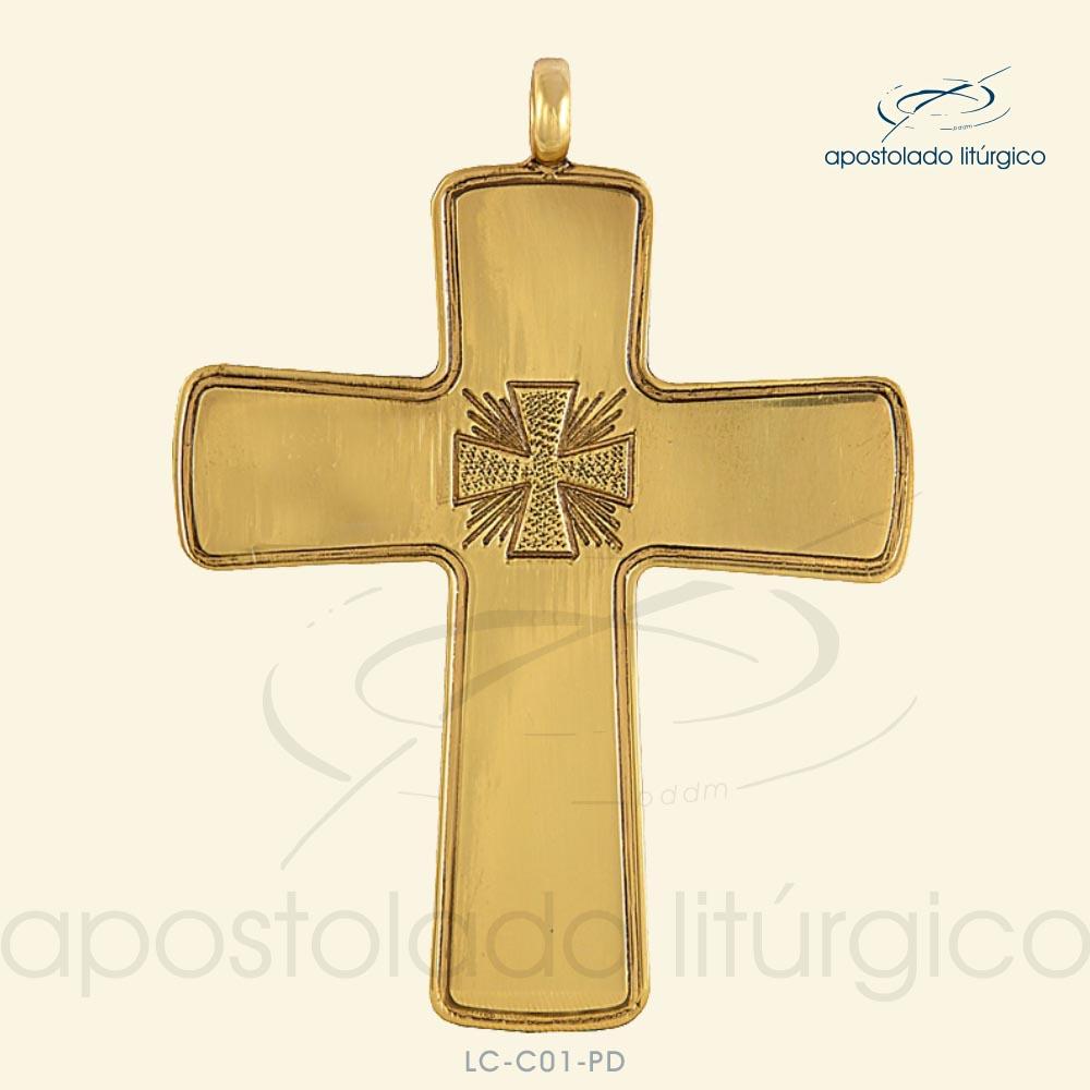 Cruz Peitoral para Bispo Cruz Prata Dourada C01 | Apostolado Litúrgico Brasil