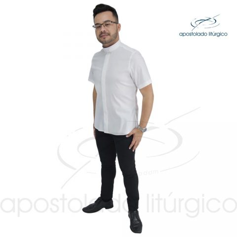 Padre Alex Camisa Slim Fit Gola Romana Manga Curta Branca Off White