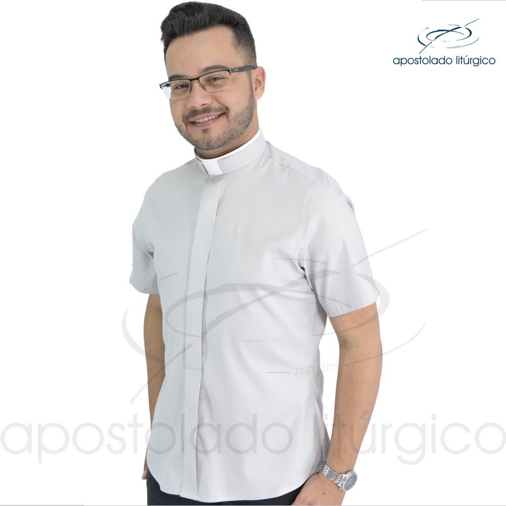 Camisa Slim Fit Gola Romana
