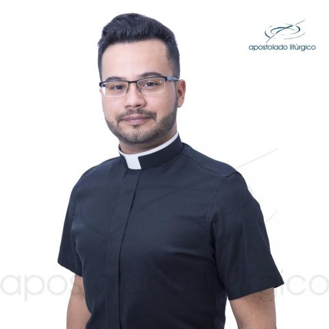 Padre Alex Camisa Slim Fit Gola Romana Manga Curta Preta