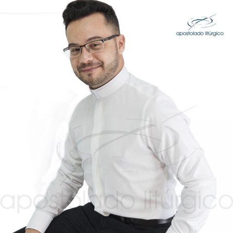 Padre Alex Camisa Slim Fit Gola Romana Manga Longa Branca Off White