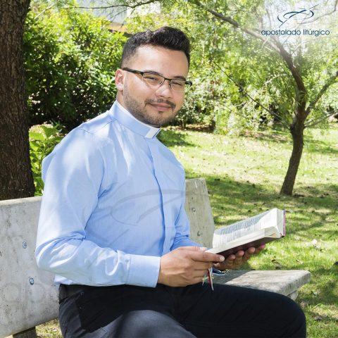 Padre Alex Camisa Slim Fit Gola Romana Manga Longa Listrada Azul-10