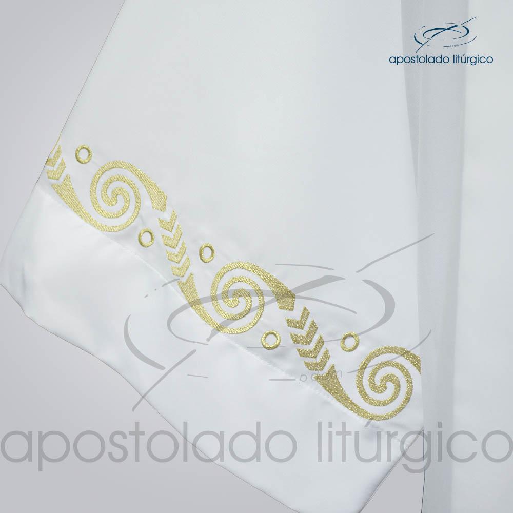 Tunica tecido Inteligente pregao [Bordado Dourado Mariana] Manga e Barra com modelo Pe José Carlos