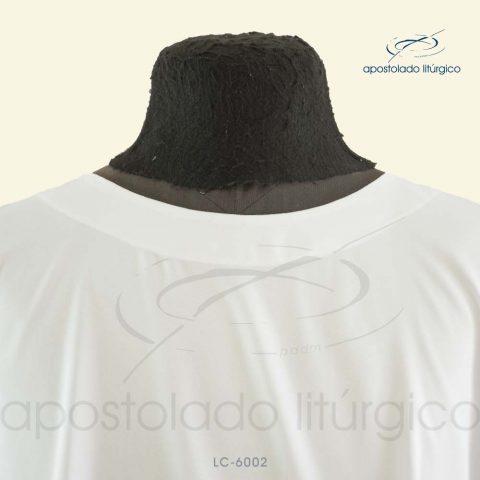 Veste Poncho Aplique 13 Retangular Branca Gola