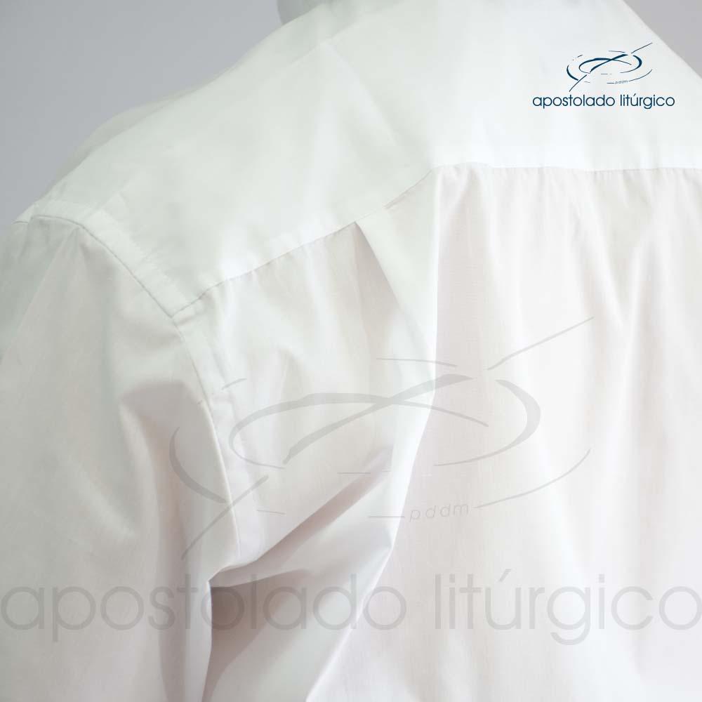 Camisa Easy Care Branca Manga Curta Costas Prega   Apostolado Litúrgico Brasil