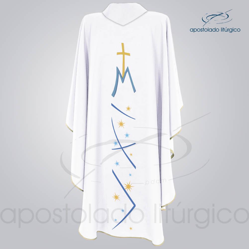 Casula Nossa Senhora das Graças Branca Bordado Costas