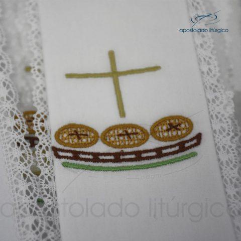 Conjunto Altar Algodao Bordado Cruz Peixe Pao 15 G 50×50 cod 3431