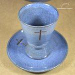 Conjunto de Celebração com Anel Grande Azul Cálice Lateral Copo