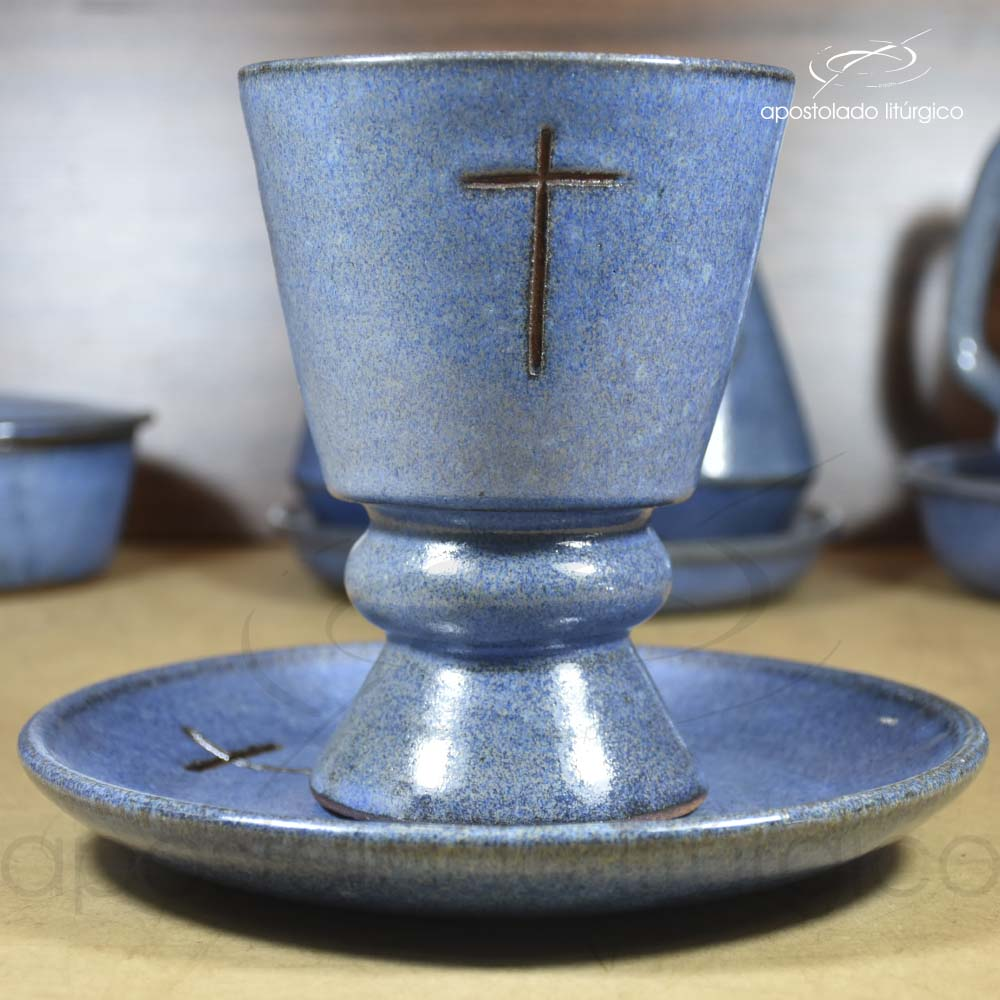Conjunto de Celebração com Anel Grande Azul Cálice Lateral