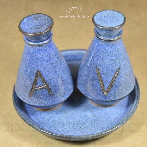 Conjunto de Celebração com Anel Grande Azul Galhetas Lateral Superior