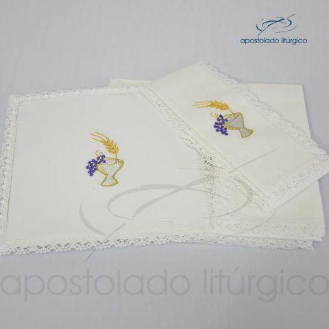 Conjunto de algodão bordado grande número 09 Cálice-Uva-Trigo 50X50 Código 3079-0009