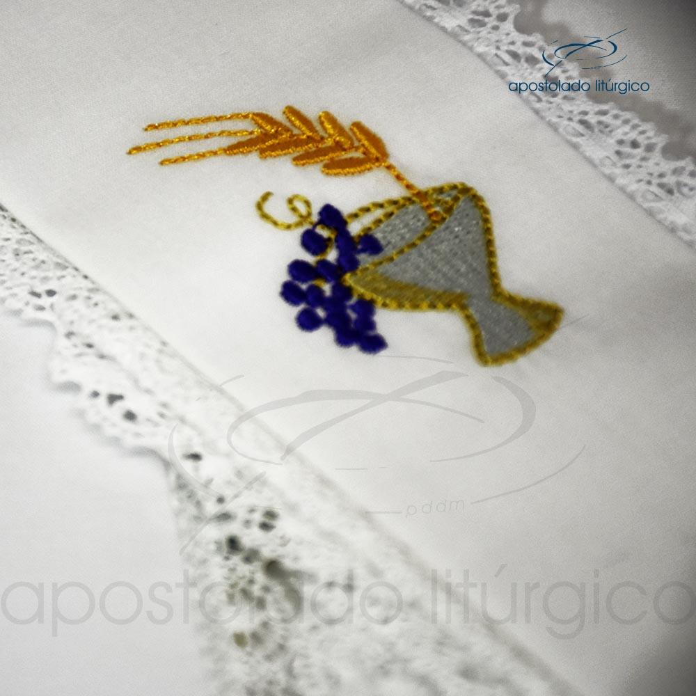 Conjunto de algodão bordado grande número 09 Cálice Uva Trigo 50X50 Código 3079 0009 detalhe | Apostolado Litúrgico Brasil