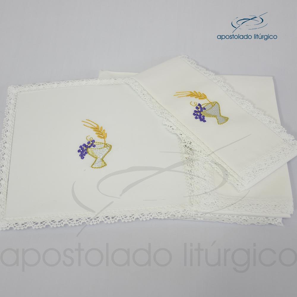 Conjunto de algodão bordado grande número 09 Cálice Uva Trigo 50X50 Código 3079 0009 | Apostolado Litúrgico Brasil