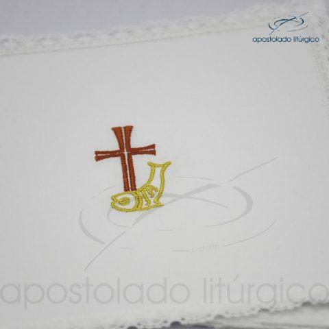 Conjunto de algodão bordado grande número 10 Cruz Peixe 50X50 Código 3079-0010-detalhe-pala