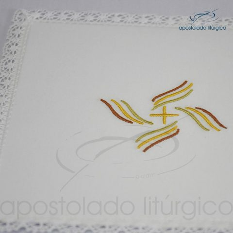 Conjunto de algodão bordado grande número 13 Peixe e Pão A 50X50 Código 3431-0013-detalhe pala