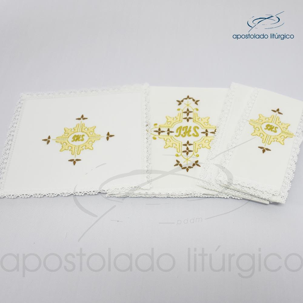 Conjunto de algodão bordado grande número 16 JHS 50X50 Código 3431 0016 detalhe | Apostolado Litúrgico Brasil