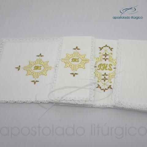 Conjunto de algodão bordado grande número 16 JHS 50X50 Código 3431-0016-detalhe2
