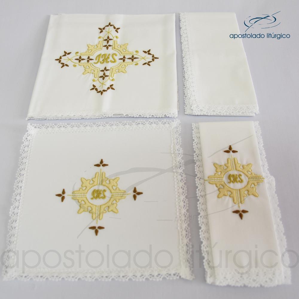 Conjunto de algodão bordado grande número 16 JHS 50X50 Código 3431 0016 | Apostolado Litúrgico Brasil
