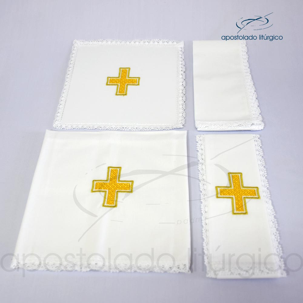 Conjunto de algodão bordado número 12 Cruz B Amarela 50X50 Código 3079 0012 | Apostolado Litúrgico Brasil