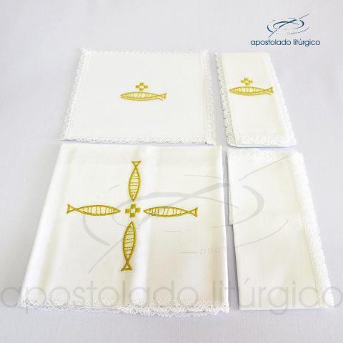 Conjunto de algodão bordado número 17 Peixe em Cruz 50X50 Código 3431-0017