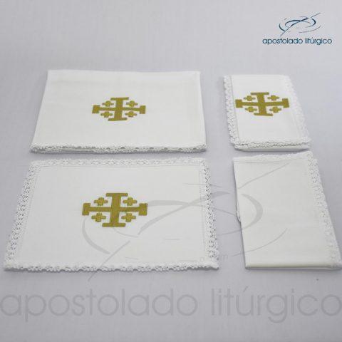 Conjunto de algodão bordado número 18 Cruz de Jerusalém 50X50 Código 3868-0018-linha fio ouro-detalhe