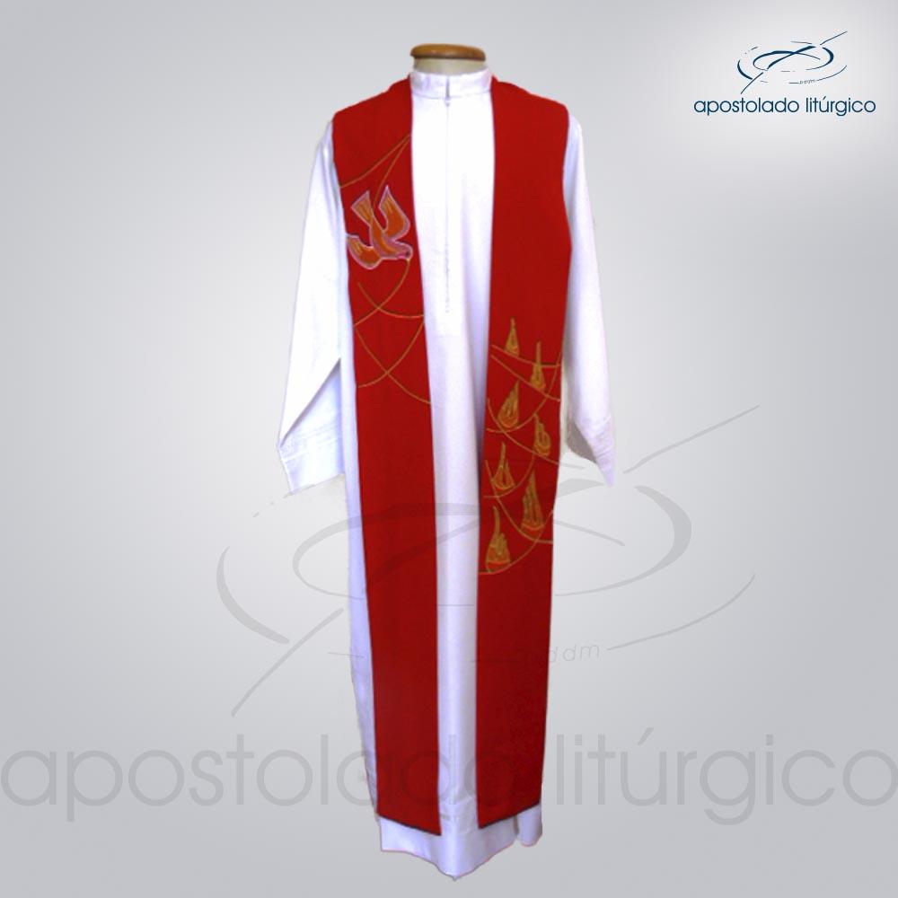 Estola Presbiteral Bordada Espírito Santo Vermelha | Apostolado Litúrgico Brasil