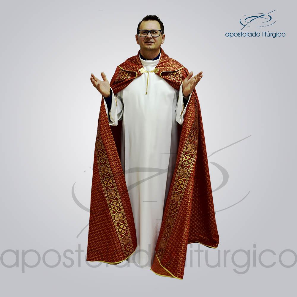 Capa de Bencao Brocado Damasco Galao Largo N 10 Vermelha Vermelha Padre Joaquim Frente COD 3455 | Apostolado Litúrgico Brasil