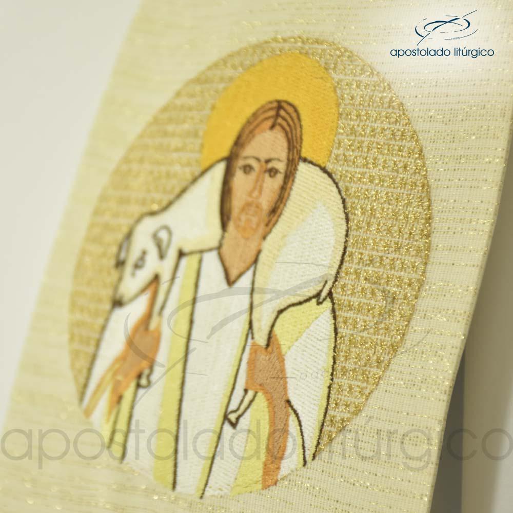 Estola Bom Pastor Bordado Presbiteral Ravena Pérola Jesus