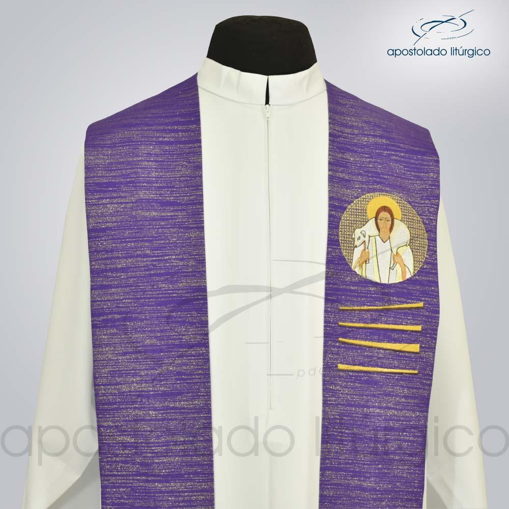 Estola Bom Pastor Bordado Presbiteral Ravena Roxo Busto