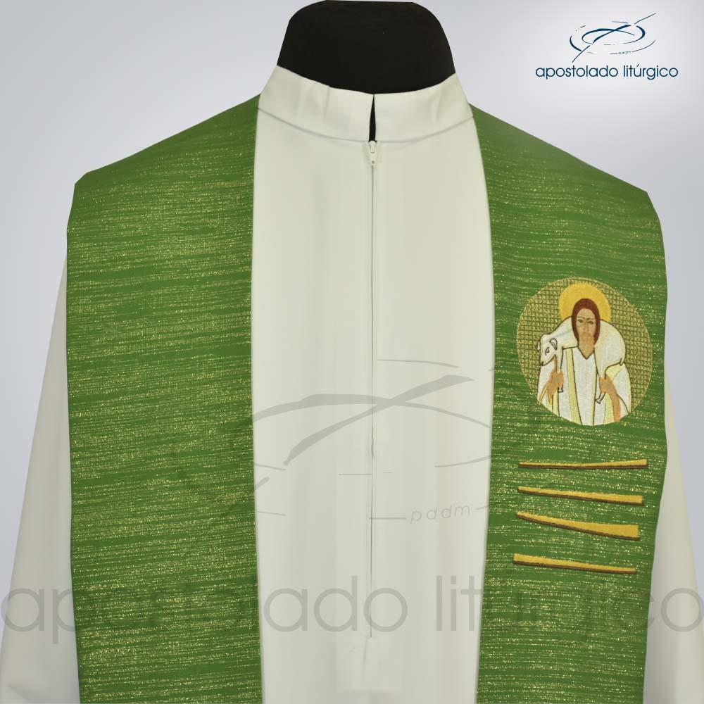Estola Bom Pastor Bordado Presbiteral Ravena Verde Busto