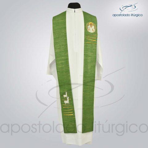 Estola Bom Pastor Bordado Presbiteral Ravena Verde Frente